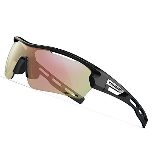 - TOREGE Polarized Sports Sunglasses with 3 Interchangeable Lenes for Men Women Cycling Running Driving Fishing Golf Baseball Glasses TR33 Storm Chaser (Black&Black&Photochromic Red)