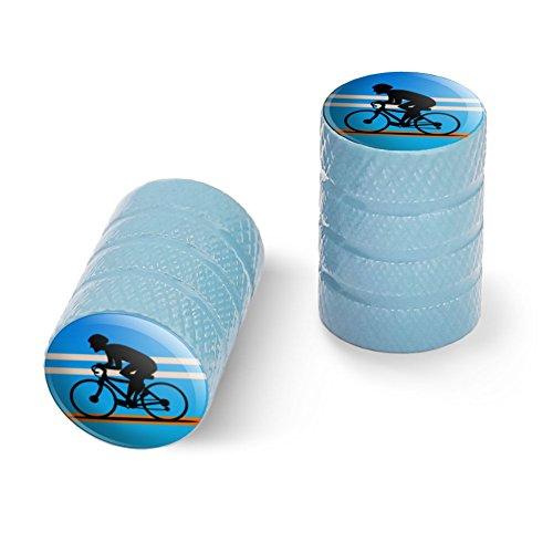 オートバイ自転車バイクタイヤリムホイールアルミバルブステムキャップ - ライトブルーロードバイクサイクリング自転車