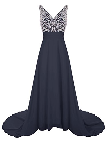 Wedtrend Women's Long Chiffon Prom Dress with Train Bridesmaid Dress with Beads WT12007 Navy -