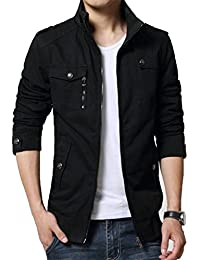 Men's Solid Cotton Casual Wear Stand Collar Jacket