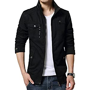 XueYin Men's Solid Cotton Casual Wear Stand Collar Jacket 29