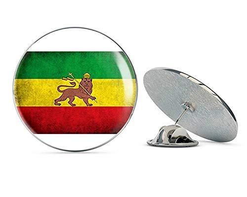 "NYC Jewelers Distressed Ethiopia Lion Flag (Vintage Old Ethiopian Rastafari Rasta) Metal 0.75"" Lapel Hat Pin Tie Tack Pinback"