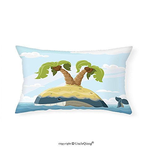 VROSELV Custom pillowcasesFish Cartoon Whale with Island on His Back Palm Trees Clouds Kids Playroom Nursery Decor for Bedroom Living Room Dorm Multicolor(12''x24'') by VROSELV