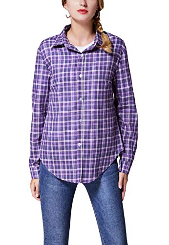 (GUANYY Women's Long Sleeve Casual Loose Classic Plaid Button Down Shirt(New Royal Purple,Medium))