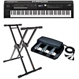 "Roland RD-2000 88 Weighted Keys Digital Stage Piano - Bundle With Roland RPU-3 Pedal Unit with 3 Separate 1/4"" Jacks, KS-20X Double Brace Keyboard X-Stand"