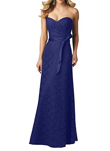 Brau Brautjungfernkleider La Damenmode Herzausschnitt Spitze Jugendweihe Royal Abschlussballkleider Kleider Abendkleider mia Blau Traegerlos 4qqx51H