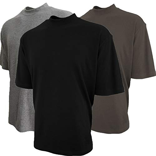 - Good Life Mock Turtleneck Shirt 100% Cotton Short Sleeve Pre-Shrunk 3-Pack (XL, Black/Heather Gray/Earth Gray 3-Pack)