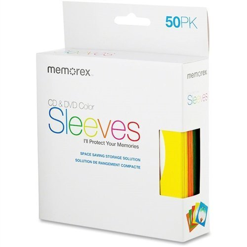 Memorex 1,000 Assorted Color Paper CD Sleeves with Window & Flap