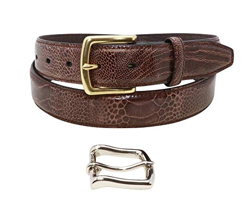 Size 34 Brown Genuine Ostrich Leg Belt in 1 1/4 inch or 32mm Wide with Gold and Silver Buckles Included Factory Direct Made in USA by Real Leather Creations FBA1319