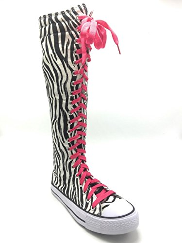 New Fasion Women Canvas Sneakers Punk flat Skatter Knee High Lace up Shoes Zebra/Fuch Laces Ombtkfd
