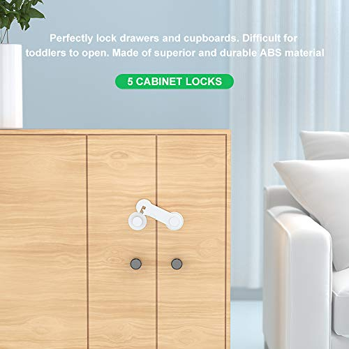 Baby Proofing Set (36 Pcs) - 10 Safety Locks (2 Types), 16 Corner Guards (10 Clear, 6 Colored), 10 Outlet Plug Covers - Best Value Guaranteed