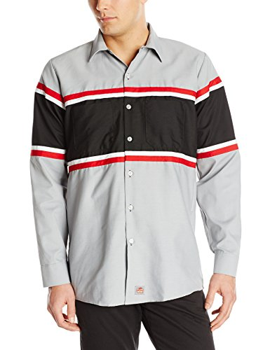 Red Kap Mens Technician Shirt, Grey/Black with Red/White,  Short Sleeve Large