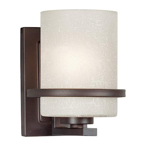 Forte Lighting 2404-01-32 1-Light Transitional Wall Sconce, Antique Bronze Finish with White Linen Glass Shade -