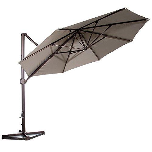 Abba Patio Offset Cantilever Umbrella Hanging Outdoor Market Cantilever Umbrella with Cross Base and Umbrella Cover, 11 Feet, Tan by Abba Patio