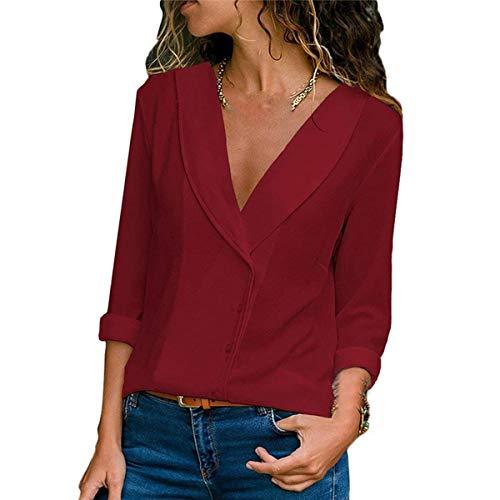 Rouge Couleur Col Hauts Automne Printemps Tunique Chemises Tee Unie Tops Shirts Gavemenget Manches et Blouses Mode Chemisiers Femmes Longues Vin V YRaEOwx