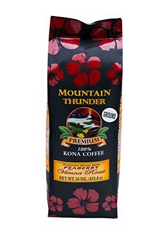 100% Kona Coffee - Peaberry - Ground - Vienna Roast - 16 Ounce Bag - by Mountain Thunder Coffee Plantation
