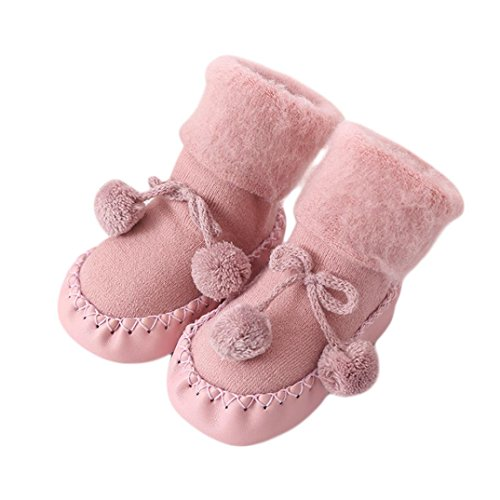 Basic Costumes Boots (Fheaven Baby Boy Girl Socks Cotton Floor Socks Anti-Slip Socks Tassel Lace up Bowknot Boots (18-24months, Pink))