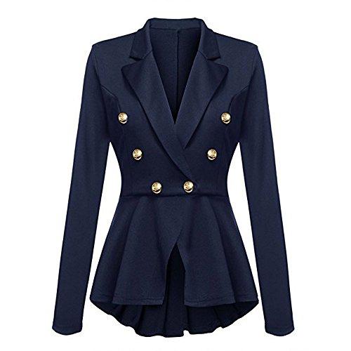 Donna Arricciature Giacca Outwear Casual Lunghe Alla Maniche Button Peplum Blazer Da Con Moda Jacket Coat Blu A rZCzZw57xq