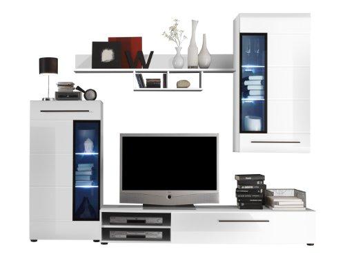 Trendteam Wohnzimmerschrank Wohnwand Anbauwand, weiß, 235 x 189 x 47 ...