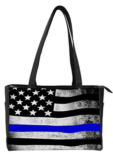 Snaptotes Thin Blue Line American Flag in Support of Police and Law Enforcement Manufactured in USA Multipurpose Tote