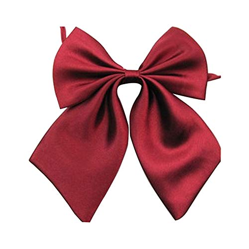 (Gliterstar Women's Solid Color Bow Tie School Student Sailor Suit Bowknot Adjustable Ribbon (Wine red))