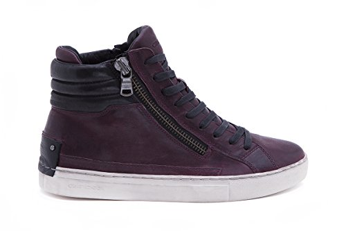 STIVALETTO UOMO CRIME LONDON JAVA HI STRINGATA LEATHER BORDEAUX CON 2 ZIP LATERALI