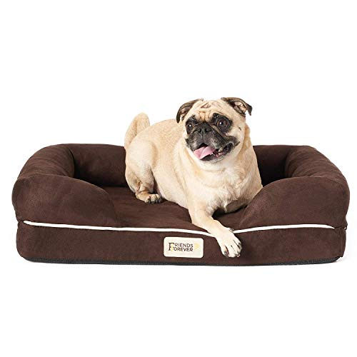 """Friends Forever Orthopedic Dog Bed Lounge Sofa Removable Cover 100% Suede 2.5"""" Mattress Memory-Foam Premium Prestige Edition 20"""" X 25"""" X 5"""" Cocoa Brown Small"""
