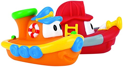 (Nuby 2-Pack Tub Tugs Floating Boat Bath Toys, Colors May Vary)