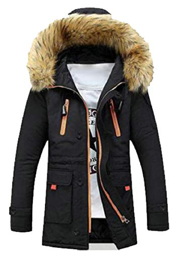 security Men Hooded Cotton Padded Parka Outerwear Jacket Coats Black