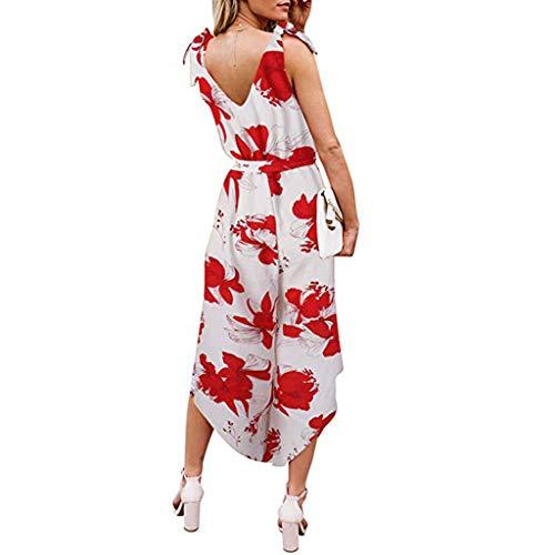 TOPUNDER Women Outfit Sleeveless Shoulder Bandage Waistband V-Neck Jumpsuit with Belt -