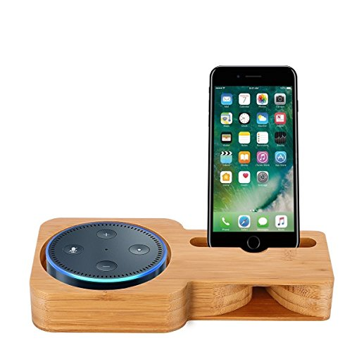 Powstro Bamboo Desktop Speaker Stand Amplifier Dock Speaker Holder for Dot Speaker (Fittings Dock)