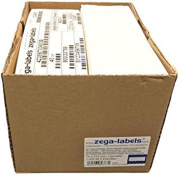 KLT Thermotransfer Karton Etiketten endlos leporello gelegt - 75 x 210 mm - 1.000 Stück je Karton - mit Perforation - Druckverfahren: Thermotransfer (Drucken mit Farbband) Warenanhänger nach VDA 4902