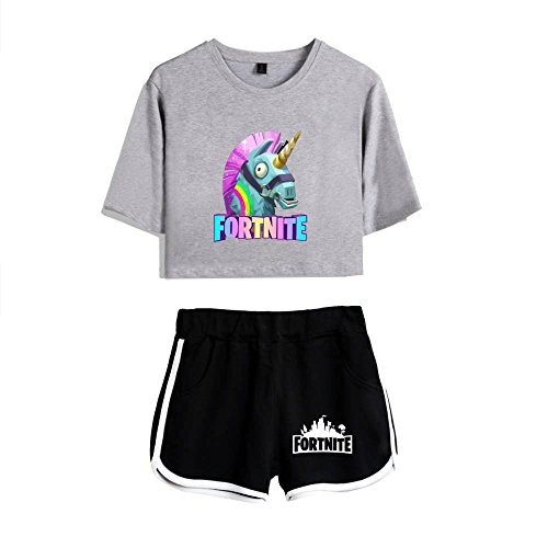 Crop E Fitness Manica Stampa Shorts Grey3 Unicorno Tayaho Girocollo Sports Per Donna Fortnite Popolare shirts Maglietta Sets Top Pantaloncini T Corta Personaggio qUnptPS