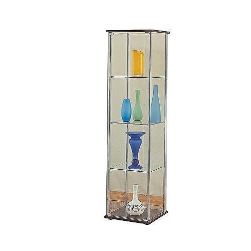 Coaster Contemporary 4 Shelf Glass Curio Cabinet With Cappuccino Top And  Bottom