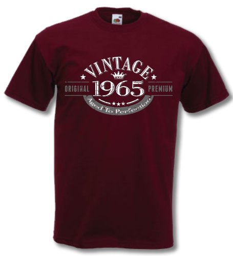 1965 Vintage Year, Aged to Perfection - 51st Birthday Gift Present T-Shirt Mens