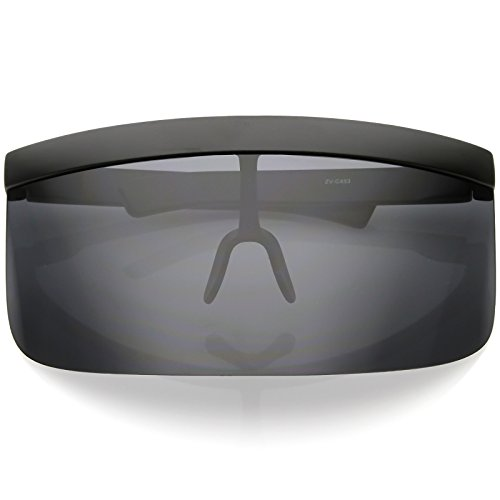 - sunglassLA - Futuristic Oversize Shield Visor Sunglasses Flat Top Mirrored Mono Lens 172mm (Smoke)