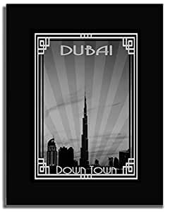 Dubai Skyline Down Town - Black And White With Silver Border F04-nm (a5) - Framed