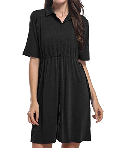 Dress Shirt Sleeve Length (Hibelle Casual Dresses For Women Knee Length, Ladies Turn Down Collared 1/2 Sleeve Self Tie Belted Blouses Elegant Solid Party Midi Shirt Swing Fall Dress For Active Wear Black L)