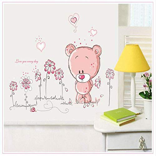 (LJLQ Cute Pink Cartoon Animal Love Bear Flower Baby Children Bedroom Room Decor Wall Stickers Kids Nursery Decal Sticker Girl Gift )