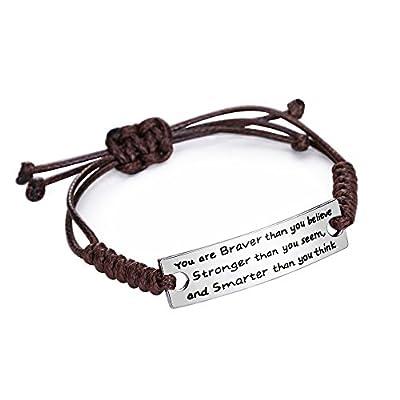 Cheap Women Men You're Braver Strong Smarter than you believe Bracelet Family Friend Father Mother Teacher Gift supplier