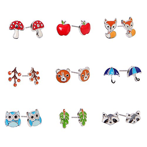 Unique Queen 9 Pair Sets Cute hypoallergenic Animal Stud Earrings Set For Girls kids Women Sterling Silver earrings Halloween (Animal Silver Jewelry Set)