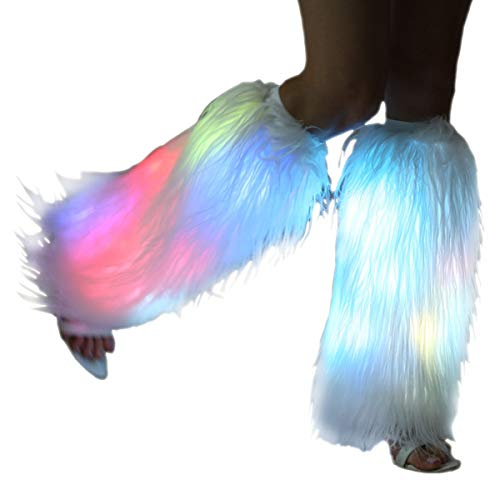 White Fur Leg Warmers For Women Neon Rave Led Fluffy 80s Sexy Dance Hosiery Fun Furry Light Up Leggings For Girls Boot Edm Christmas Unicorn Costume -
