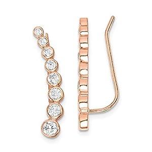 Sterling Silver Rose-tone Cubic Zirconia Ear Climber Earrings
