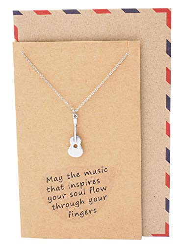 (Quan Jewelry Music Gifts for Women Treble Clef Heart Necklace, Musical Guitar Instrument Charm, Gift to Music Lovers with Inspirational Greeting Card)