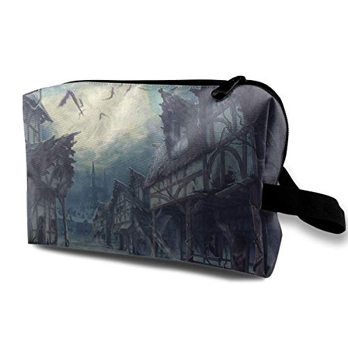 Louis Woodrow Street Clouds Night Moon House Halloween Horror Dark Bats 3D Printed Pencil Case for House -