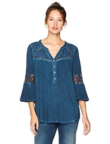 L.e.i. Women's Daria Embroidered Feminine Henley Top, Saxony Blue/Floral Embroidery, Medium