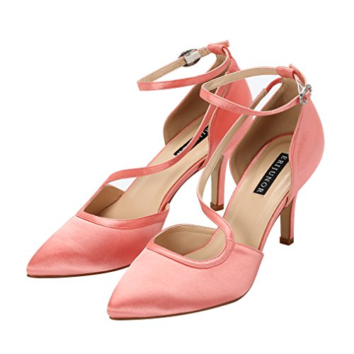 Comfortable Shoes Strappy Toe Coral Party Women Wedding Evening Pumps Heel Ankle Dress Satin Mid ERIJUNOR Pointed Bw65Aqw