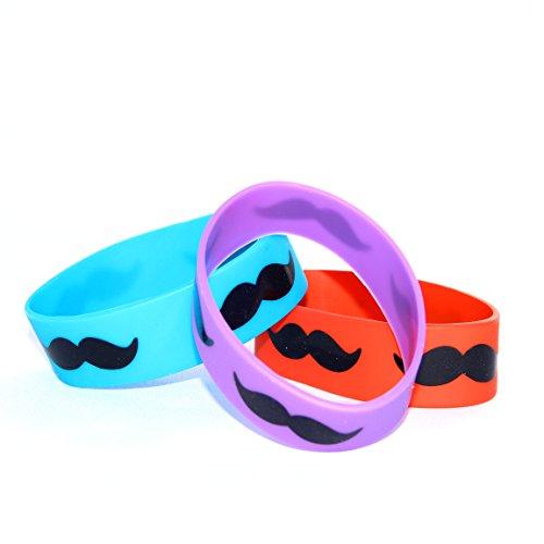 Dazzling Toys Jumbo Mustache Rubber Bracelets - Pack of 12 (D084)]()