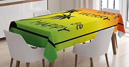 Ambesonne Rasta Tablecloth, Dont Worry Be Happy Music Words of Iconic Singer Palms Ombre Colors, Dining Room Kitchen Rectangular Table Cover, 52
