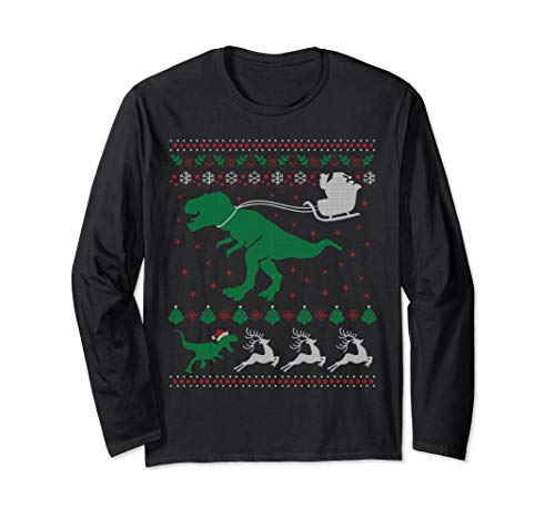Santa T-rex sleigh Ugly Christmas :Sweater long sleeve shirt